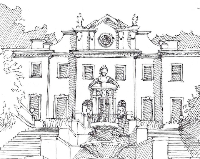 HISTORIC SWAN HOUSE in Atlanta, Georgia - Antebellum Mansion, Southern, Fountain, Pen and Ink, Drawing, Sketchbook, Art, Drawn There