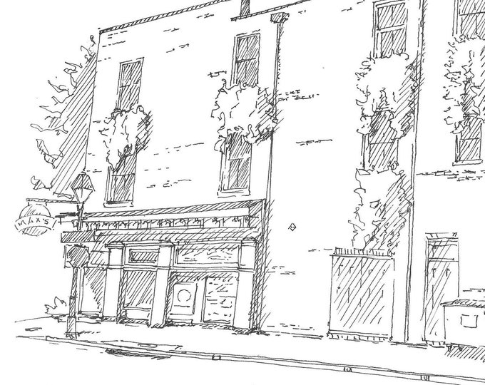 MAXS TAVERN BALTIMORE - Fells Point, Historic Neighborhood, Bar, Beer, Drawing, Sketchbook, Art, Pen and Ink, Architecture, Drawn There