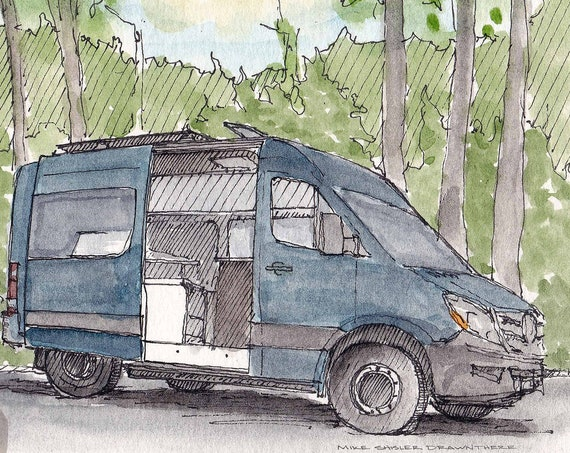 SPRINTER VAN with SUN - Mercedes Sprinter, Vanlife, Custom, Camper, Sun, Drawing, Pen and Ink, Painting, Watercolor, Sketchbook, Drawn There