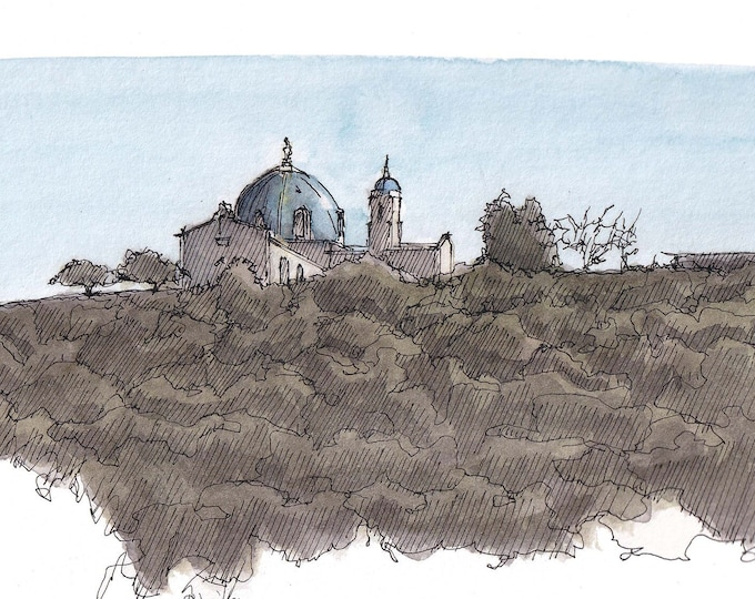 UNIVERSITY of SAN DIEGO - Mission Valley, Architecture, California, Plein Air Ink and Watercolor Painting, Drawing, Art Print, Drawn There