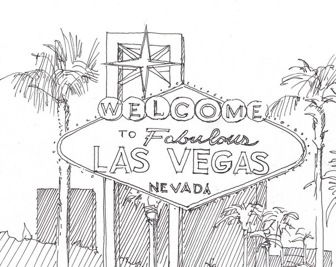 LAS VEGAS SIGN - Welcome to Fabulous Las Vegas, The Strip, Retro, Neon, Drawing, Pen and Ink, Sketchbook, Art, Drawn There