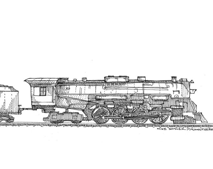 POLAR EXPRESS LOCOMOTIVE - Train, Steam Engine, Railroad, Drawing, Pen and Ink, Line Drawing, Sketchbook, Art, Art Print, Drawn There