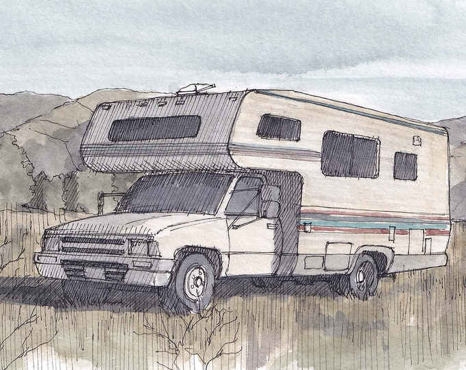 TOYOTA DOLPHIN RV - Classic Camper, Vintage, Camping, Roadtrip, Vanlife, Watercolor Painting, Drawing, Sketchbook, Art, Drawn There