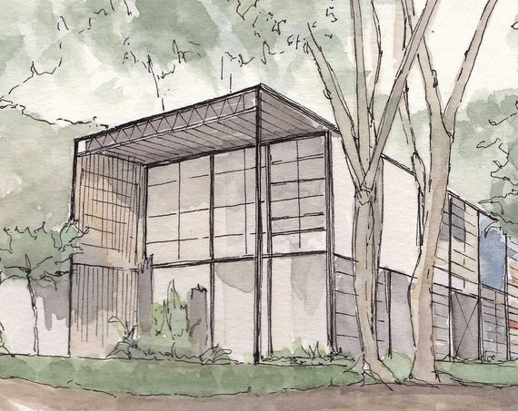 EAMES HOUSE Santa Monica, California - Architecture, Furniture Design, Modular, Pen and Ink, Watercolor, Painting, Art, Sketch, Drawn There