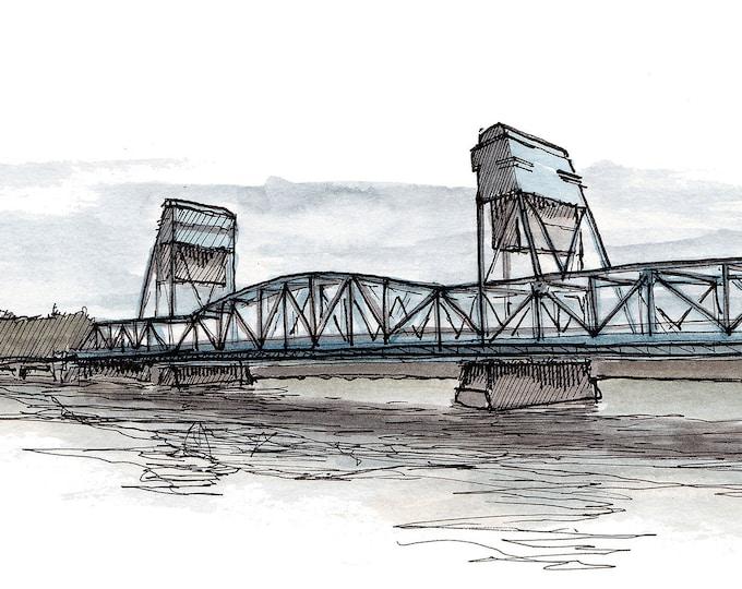 CLARKSTON WASHINGTON Snake River Bridge - Idaho, Clear River, Ink, Drawing, Watercolor, Painting, Sketchbook, Art, Drawn There