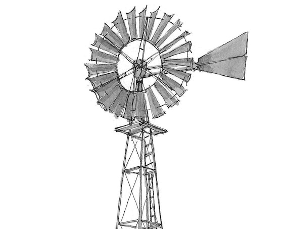 OLD WINDMILL - Near Basalt, Colorado, Ranch, Wind Power, Farm, Drawing, Pen and Ink, Sketchbook, Art, Drawn There