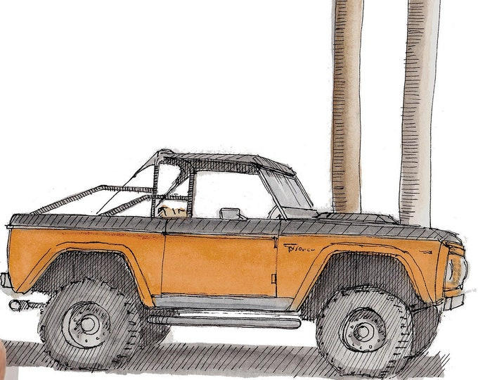 1975 FORD BRONCO - Truck, 4x4, California, Palm Trees, Off-Road, Drawing, Pen and Ink, Watercolor, Painting, Sketchbook, Art, Drawn There