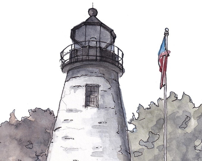 CONCORD POINT LIGHTHOUSE - Chesapeake Bay, Havre de Grace, Maryland, Sailing, Boats, Ink and Watercolor, Painting, Art, Drawn There