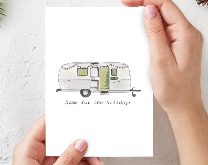 VANLIFE HOLIDAY CARDS - (Qty 4) 5x7 Folded Cards, Blank Inside, Home For The Holidays, Airstream, Vanagon, Trailer, Sprinter, Drawn There