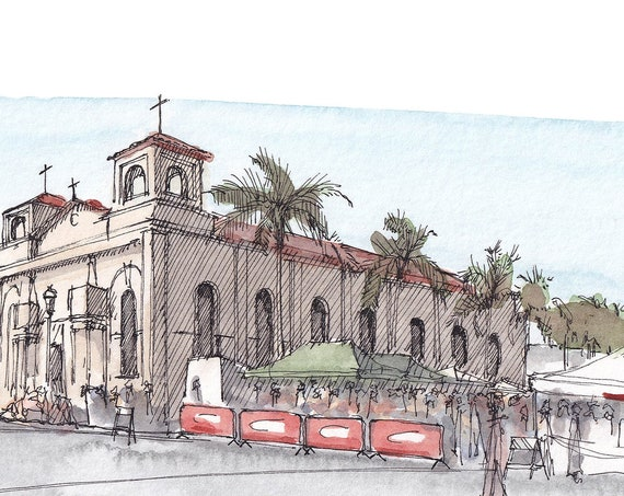 LITTLE ITALY MERCATO, San Diego, California - Farmers Market, Fresh Food, Watercolor Painting, Urbansketcher, Art, Drawing, Drawn There