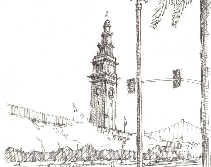 FERRY TERMINAL BUILDING - San Francisco, Tower, Architecture, Drawing, Pen and Ink, Sketchbook, Art, Drawn There