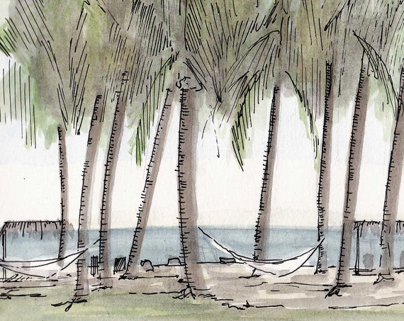 PALM TREES on the beach Punta Islita, Costa Rica - Ink and Watercolor, Tropical, Drawing, Art Print, Sketchbook, Ocean, Hammock, Drawn There