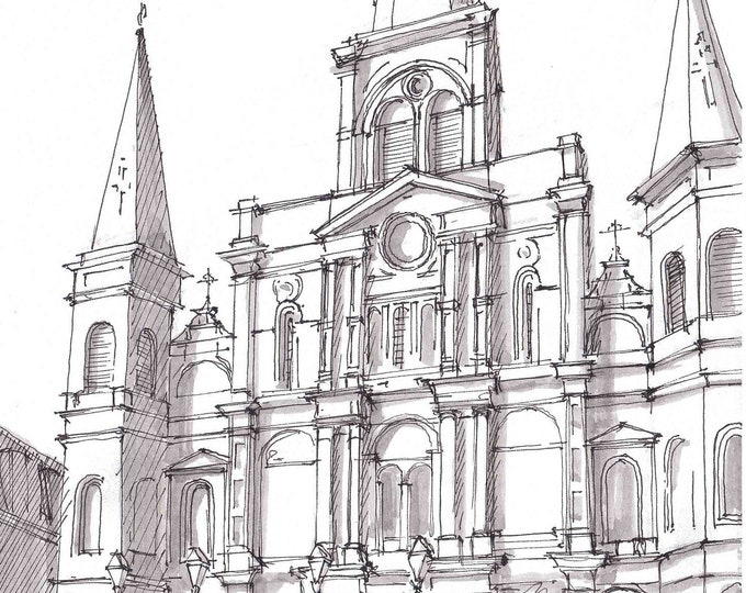 ST LOUIS CATHEDRAL - New Orleans, Louisiana, Drawing, Art, Sketch, Painting, Pen and Ink, Watercolor, Architecture, Sketchbook, Drawn There