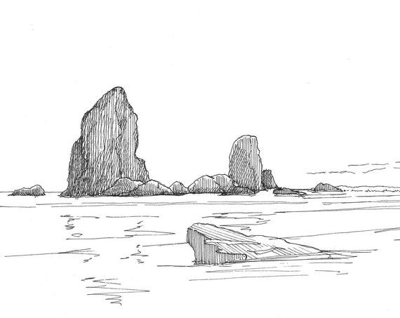 PNW SEA STACKS - Cannon Beach, Ecola State Park, Coast, Ocean, Pacific Northwest, Pen and Ink, Drawing, Sketch, Art Print, Drawn There