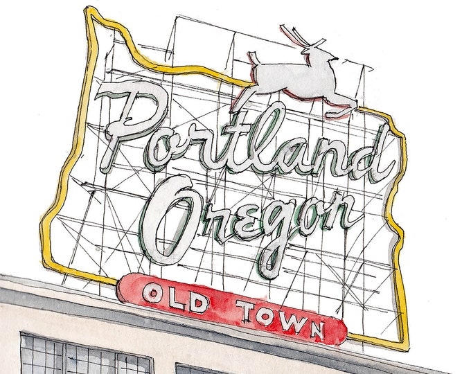 PORTLAND OREGON SIGN - Old Town, Jumping Deer, Neon Sign, Skyline, Drawing, Watercolor Painting, Sketchbook, Art, Drawn There