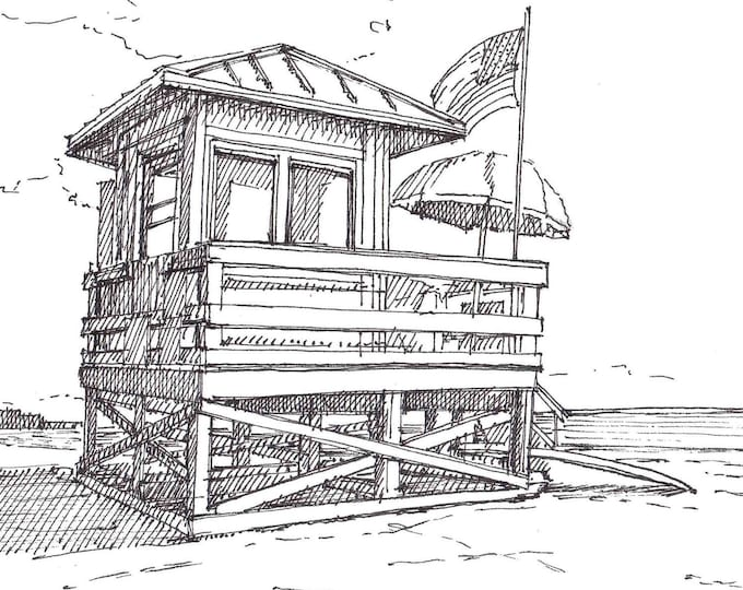 SIESTA KEY BEACH, Florida - Lifeguard Stand, Beach Patrol, Ocean, Summer, Gulf of Mexico, Drawing, Pen and Ink, Sketchbook, Art, Drawn There