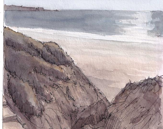 BLACKS BEACH STAIRS - San Diego, Beach, Ocean, Cliffs, La Jolla, Shore , Art, Plein Air Watercolor Painting Watercolor, Drawing, Drawn There