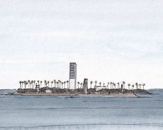 ASTRONAUT ISLANDS Long Beach, California - Oil Rigs, Architecture, Island, Plein Air Watercolor Painting, Sketchbook, Art Print, Drawn There