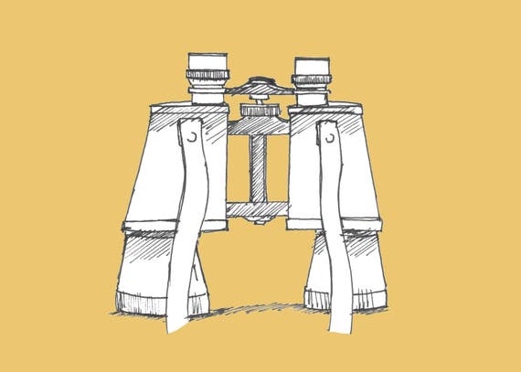 VINTAGE BINOCULARS - Drawing, Pen and Ink, Yellow, Sketchbook, Sketch, Art, Drawn There