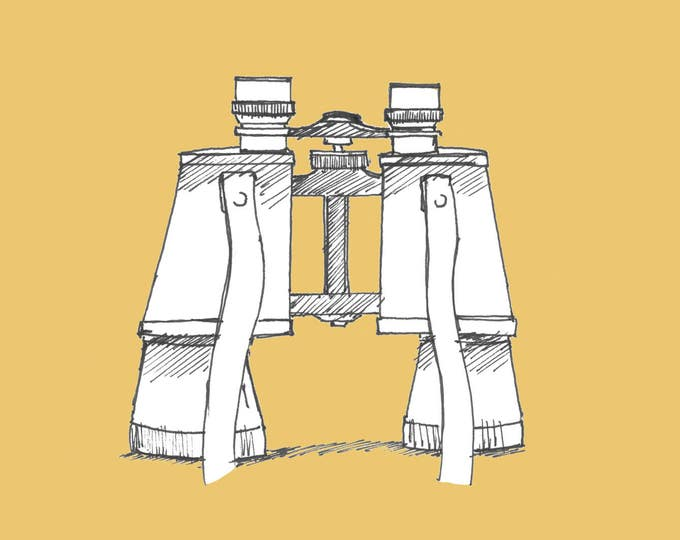 VINTAGE BINOCULARS - Drawing, Pen and Ink, Yellow, Sketchbook, Sketch, Art, Drawn There