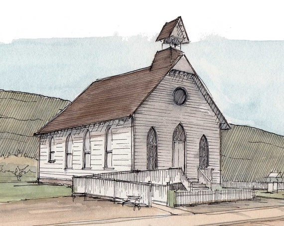 PIONEER CHURCH - Arizona Pioneer Living History Museum, Architecture, Ink and Watercolor, Painting, Drawing, Sketchbook, Drawn There