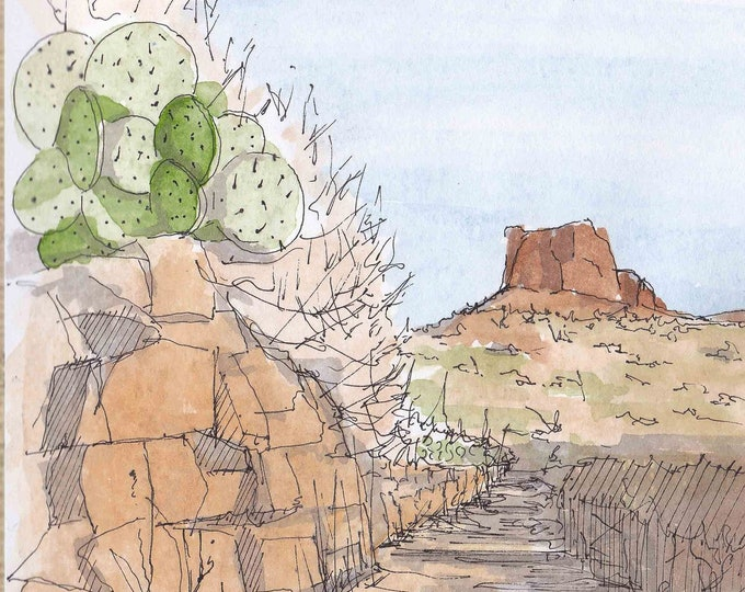 PRICKLY PEAR CACTUS in Big Bend National Park - Texas, Hiking Trail, Butte, Mountain, Desert, Landscape, Watercolor Painting, Drawn There
