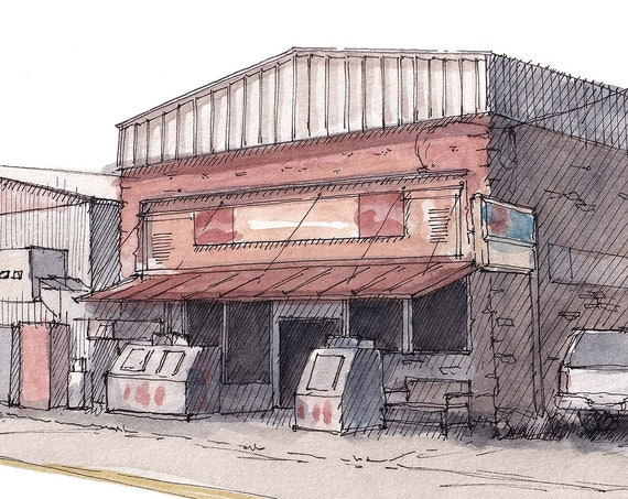 FORESTBURG COUNTRY STORE - Rural Texas, Feed Store, General Store, Plein Air Watercolor Painting, Drawing, Sketchbook, Art, Drawn There
