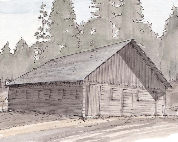 HOLLINSHEAD PARK BARN - Bend, Oregon, Historic Site, Farm, Rustic, Architecture, Drawing, Watercolor Painting, Sketchbook, Art, Drawn There