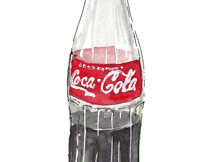 MEXICAN COKE BOTTLE - Coca Cola, Green Glass, Soda, Classic, Drawing, Watercolor Painting, Sketchbook, Art, Print, Drawn There