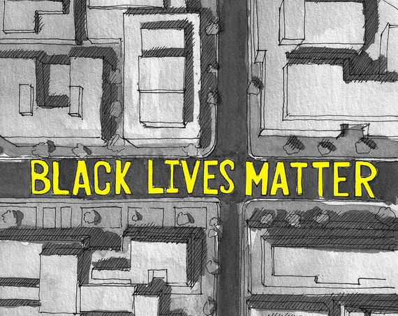 BLACK LIVES MATTER Street Art, Washington dc - Protest, Drawing, Watercolor Painting, Sketchbook, Drawn There