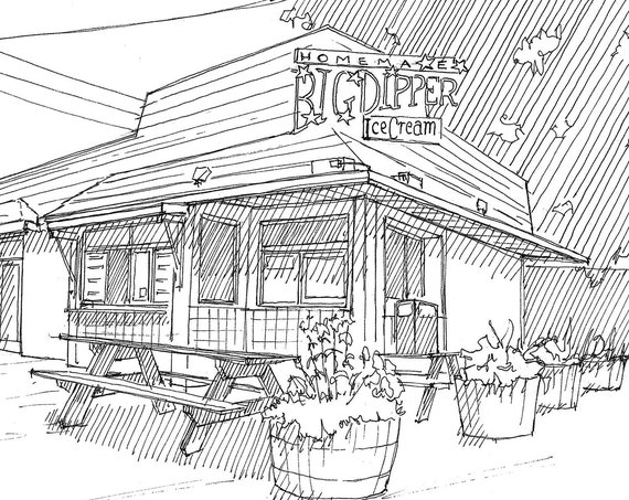BIG DIPPER Ice Cream Stand in Missoula, Montana - Homemade Ice Cream Flavors, Summer, Pen and Ink Drawing, Urbansketcher, Art, Drawn There