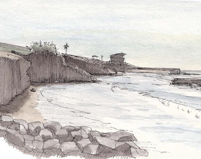 LA JOLLA COVE - Beach, Ocean, Cliffs, San Diego, Drawing, Watercolor Painting, Sketchbook Art, Print, Drawn There