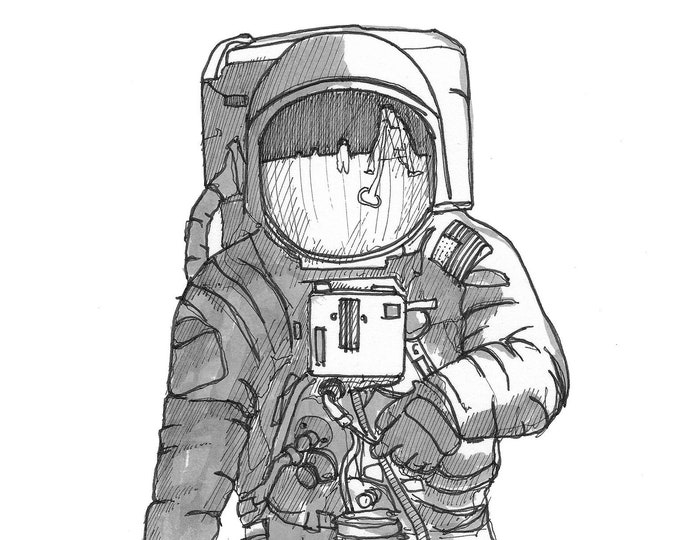 APOLLO 11 SPACE SUIT - Astronaut, Buzz Aldren, Moon Walk, Space Travel, nasa, Drawing, Pen & Ink, Sketchbook, Drawn There