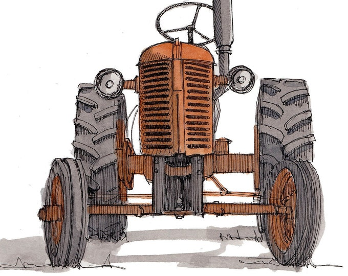 ORANGE VINTAGE TRACTOR - Farm, Farming, Ford, John Deere, Ink and Watercolor, Painting, Drawing, Sketchbook, Drawn There
