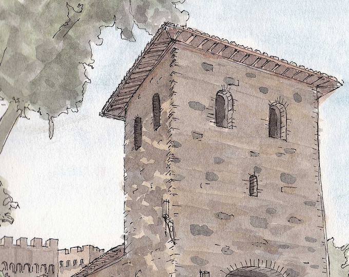 CASTELLO DI AMOROSA - Napa Valley, California, Winery, Vineyard, Architecture, Castle, Drawing, Sketchbook, Art, Pen and Ink, Drawn There