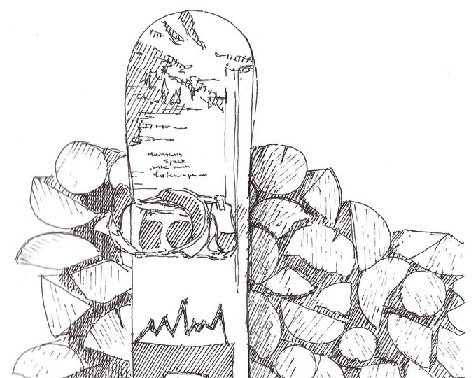 SNOWBOARD and WOODPILE - Winter, Ski, Cabin, Pen and Ink, Drawing, Sketchbook, Art, Drawn There
