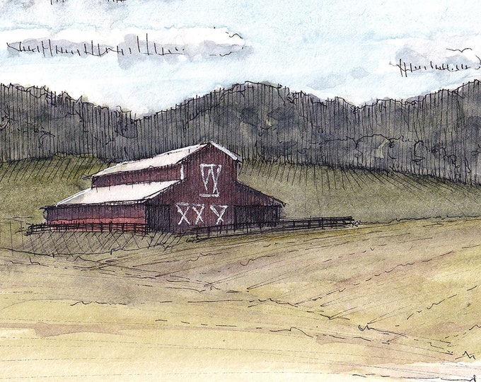 VIRGINIA HORSE FARM - Barn, Pasture, Meadow, Rural, Fields, Nature, Landscape Watercolor Painting, Drawing, Sketchbook Art, Drawn There
