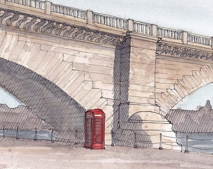LONDON BRIDGE, Lake Havasu, Arizona - British Phonebooth, Plein Air Watercolor Painting, Drawing, Sketchbook, Art Print, Drawn There
