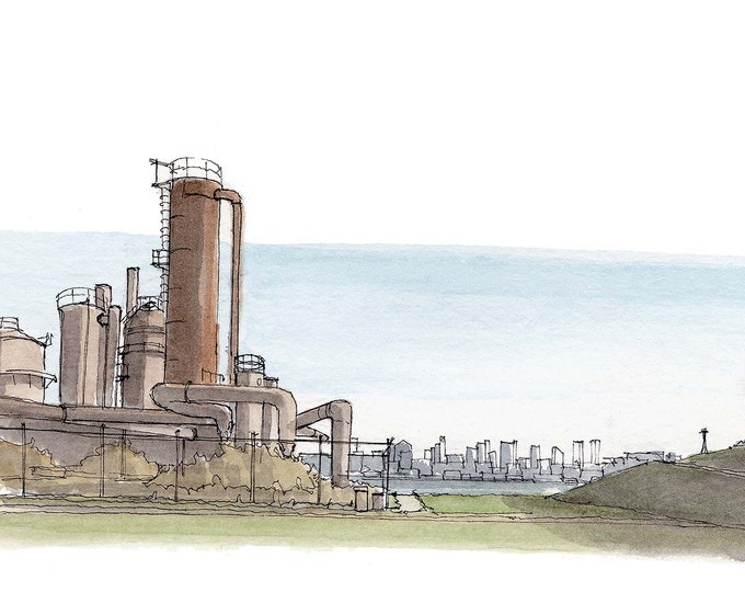 GAS WORKS PARK - Seattle, Washington, Abandoned Industrial Architecture, Watercolor Painting, Drawing, Sketchbook, Art, Drawn There