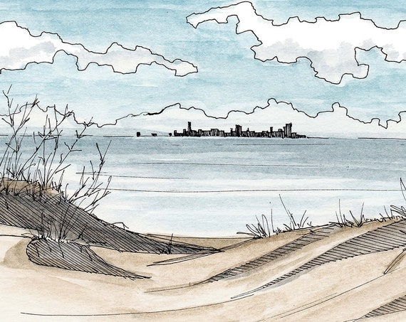 INDIANA DUNES National Park - Lakeshore, Chicago Skyline, Great Lakes, Drawing, Ink, Watercolor, Painting, Sketchbook, Art, Drawn There