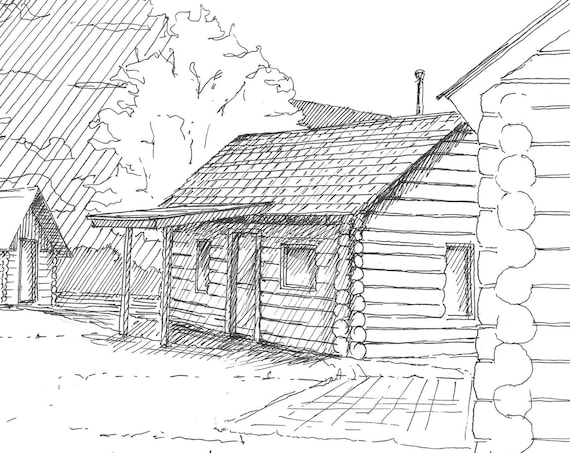 WHISTLER LOG CABINS - Pen and Ink, Drawing, Architecture, Log Cabins, British Columbia, Canada, Sketchbook, Art Print, Art, Drawn There