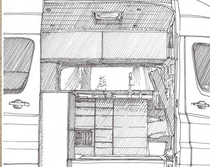 CONVERTED SPRINTER VAN Interior - Vanlife, VanThere, Mercedes Sprinter, Camper Van, Pen and Ink, Drawing, Line Drawing, Drawn There