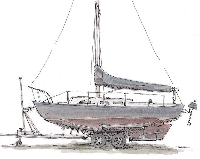 SMALL SAILBOAT on TRAILER - Sailing, Boat, Drydock, Chesapeake Bay, Drawing, Watercolor, Painting, Sketchbook, Art, Drawn There