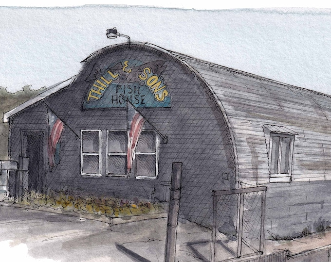 THILL & SONS Fish House - Lake Superior Marquette MIchigan, Urbansketcher, Plein Air Ink and Watercolor Painting, Drawing, Art, Drawn There
