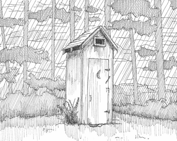 OLYMPIC HOT SPRINGS Outhouse - National Park, Nature Calls, Toilet, Bathroom Art, Cabin, Trees, Pen and Ink Drawing, Drawn There