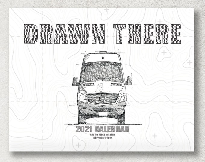 DRAWN THERE CALENDAR - 2021 Wall Art Calendar, Ink and Watercolor Drawings, Illustrations, 12 Month Planner, Perfect for Home and Office