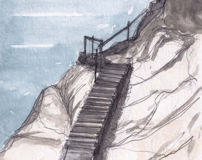 PISMO BEACH STAIRS - California, Steps, Watercolor Painting, Drawing, Sketchbook, Art Print, Drawn There