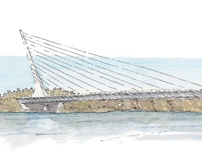 SUNDIAL BRIDGE, Redding, California -  Watercolor Painting, Drawing, Architecture, Plein Air, Calatrava, Engineering, Drawn There