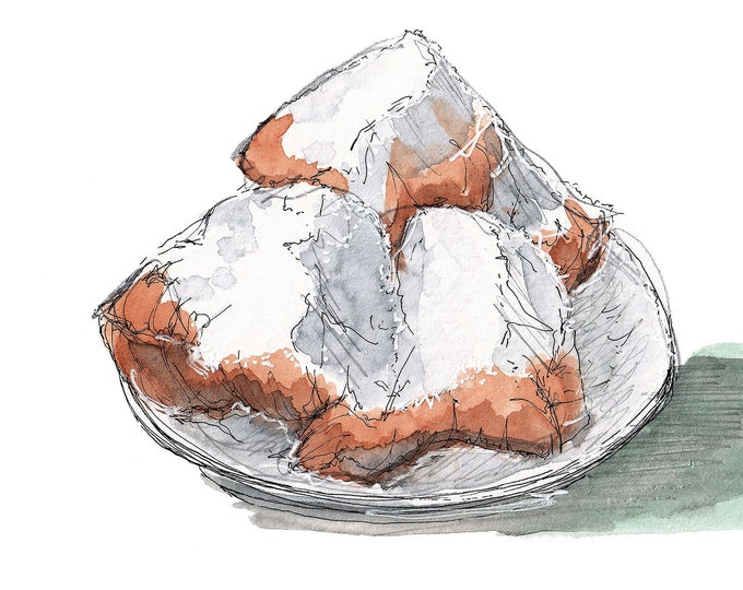 CAFE Du MONDE BEIGNETS - Jackson Square, Fried Pastry, Pastries, Powdered Sugar, Drawing, Watercolor, Painting, Sketchbook, Art, Drawn There