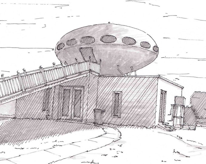 FUTURO HOUSE - Pensacola, Florida, Futuristic, Space Age, UFO, Drawing, Pen and Ink, Architecture, Tiny House, Sketchbook, Art, Drawn There